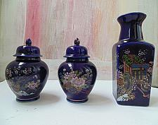 Buy Kutani Style Japanese Cobalt Three Pieces Porcelain with Fuku Stamp and Inside Marks