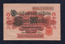 Buy GERMANY 2 MARK 1914 BANKNOTE 664-110914 - Red Seal, Darlehnskassenschein - UNC