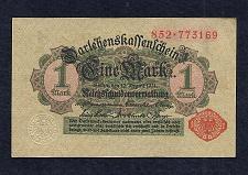 Buy GERMANY 1 MARK 1914 BANKNOTE 852-773169 Red Seal, Darlehnskassenschein