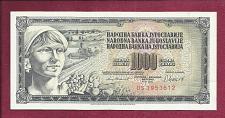 Buy YUGOSLAVIA 1000 DINARA 1981 Banknote DS 3953612 - Peasant Woman - UNCirculated