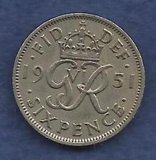 Buy UK England 1951 Six (6)PENCE COIN Ruler GEORGE VI