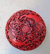 Buy Chinese Carved Red Lacquer Trinket Box with Two Foo Dogs
