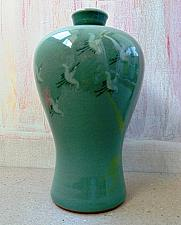 Buy Exceptional Cracked Under-glaze Celadon Korean Vase with Signature and Red Seal