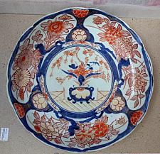 "Buy 18 Century ""Rose Medallion"" Chinese Deep Plate - Charger with Blue Circle on the Back"