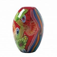 Buy RED FLORAL FLOW GLASS VASE