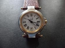Buy STUNNING LUXURY DUNHILL QUARTZ WATCH 18KG BEZEL & CROWN. LEATHER STRAP.ROMAN NUMERALS