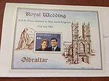 Buy Gibraltar Andrew and Sarah wedding s/s 1986 mnh #ab stamps