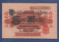 Buy GERMANY 2 MARK 1914 BANKNOTE 664-110908 - Red Seal, Darlehnskassenschein - UNC