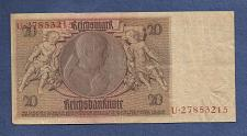 Buy GERMANY 20 Reiohmark 1929 Banknote U27853215 - Rare P-181 Note - Werner Von Siemens