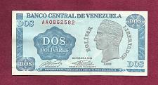 Buy VENEZUELA 2 Bolivares 1989 Banknote AA0862582 - Simon Bolivar / Arms