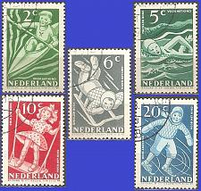 Buy [NEB189] Netherlands: Sc. no. B189-B193 (1948) Cancelled Complete Set