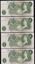 Buy 1970's GBR FOUR (4) CONSECUTIVELY NUMBERED QEII ONE POUND NOTES CRISP aUNC.