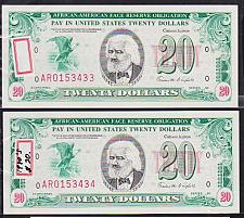 "Buy (Lot of 2) 1980's $20 ""AFRICAN AMERICAN FACE RESERVE OBLIGATION"" (AFRO) Note CU"