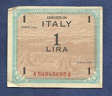 Buy ITALY 1 Lira 1943 Banknote A54949695A Historic WWII Allied Military Currency PM10
