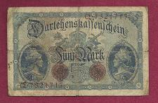 Buy GERMANY 5 MARK 1914 P47b Banknote Q7321717 - DARLENSKAFFEHSCHEIN -Germania left right