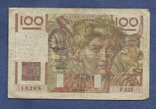 Buy FRANCE 100 Francs 1953 Banknote No. 1278016389 - JEUNE PAYSA - Watermark