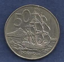 Buy New Zealand 50 Cents 1978 Coin - Endeavour Ship / Elizabeth II