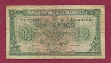 Buy BELGIUM 10 Francs 1943 Banknote #943934 -Historic WWII Occupation Currency P-122