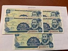 Buy Nicaragua 25 centavo unc. banknote 1991 lot of 5
