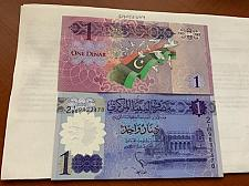 Buy Libya 1 dinar uncirculated 2 banknotes 2013/9