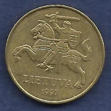 Buy LITHUANIA 50 Centu 1997 Coin KM108 Amour Clad Knight on Horse with Sword - Brass