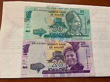 Buy Malawi 20 and 50 kwacha unc. banknotes