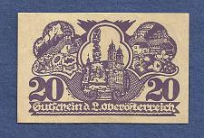 Buy AUSTRIA 20 Heller 1921 Banknote Oberosterreich, Notgeld - Brownish Red