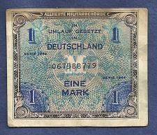 Buy GERMANY 1 Mark 1944 Banknote No 067588779 - Historic WWII Allied Military Currency!!!