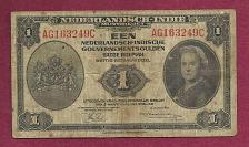 Buy NETHERLANDS INDIES 1 Gulden 1943 Banknote AG163249C –P111 Note Historic WWII Curren