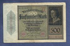 Buy GERMANY 500 Mark 1922 Banknote C1196106 Weimar Republic P-73 Reichsbanknote