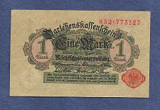 Buy GERMANY 1 MARK 1914 BANKNOTE 852-773127 Red Seal, Darlehnskassenschein