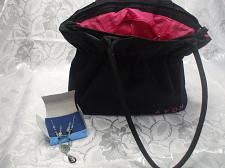 Buy Large Black Nylon Avon Purse with Jewelry Earrings And Necklace