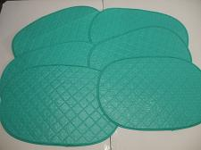 "Buy 6 Blue Non Rigid Plastic Oval Table Placemats With White Underside 17"" X 12"""