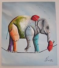 Buy Elephant Original Oil Painting by P. Sliwka, Surrealism Contemporary Fine Art Fantasy