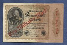 Buy GERMANY 1 MILLIARDE MARK over 1000 MARK 1923 Banknote 327258 OVERPRINT of 1922 Note