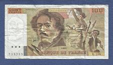 Buy FRANCE 100 FRANCS 1989 NOTE 4931533333 Eugene Delacroix KM154 Liberty Leading People