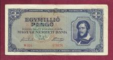 Buy Hungary 1 Million Pengo 1945 Banknote 070276 P-122 -Kossuth at right/River Scene