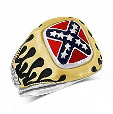 Buy Confederate Battle flag Motorcycle Flame RING STERLING SILVER