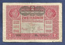 Buy AUSTRIA HUNGARY 2 KRONEN KORONA 1917 BANKNOTE 339842 Overprint DEUTSCHOSTERREICH