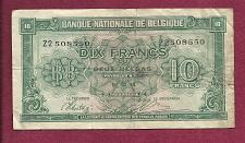 Buy BELGIUM 10 Francs 1943 Banknote #Z2 508550 -Historic WWII Occupation Currency P-122