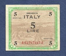 Buy ITALY 5 Lire 1943 Banknote A61747447A WWII Allied Military Currency P-M12