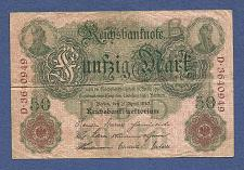 Buy GERMANY 50 Mark 1910 Banknote #D-3640949 - Imperial Reichsbanknote - GERMANIA