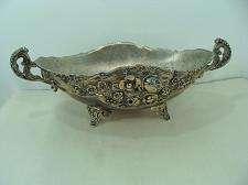 "Buy Vintage Ornate Footed Oval Silver Plated Bowl 12"" Wide 4"" Tall With Handles"