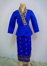 Buy Blue Lao Laos Girl Tradition Dress Clothing 3/4 Seeve Blouse Sinh Skirt Size 10