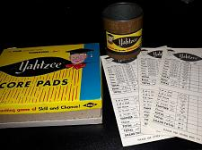 Buy Yahtzee Cup Brown Vintage 1950's and 27 vintage score pads With Box