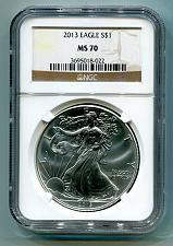 Buy 2013 AMERICAN SILVER EAGLE NGC MS 70 BROWN LABEL PREMIUM QUALITY MS70 PQ