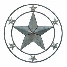 "Buy *18364U - Galvanized 24"" Round Star Art Sclupture Wall Decor"