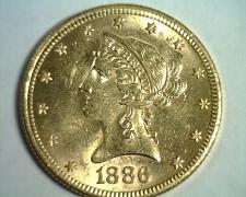 Buy 1886-S TEN DOLLAR LIBERTY GOLD UNCIRCULATED+ UNC.+ NICE ORIGINAL COIN BOBS COINS