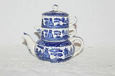 Buy Vintage Blue Willow Stacking Teapot for One Early 1920-1940 Scarce Piece WOW