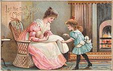 """Buy Young Girl """"Let Me Take Baby Mother"""" Used Vintage Postcard"""